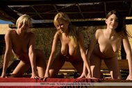 Fine Naked Babe Trio Outdoors - pics 07