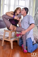 Sexy Leopard Stockings Footjob - pics 01