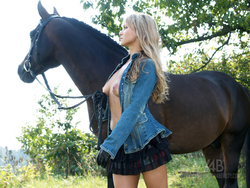 Blonde Dream Girl with her Pony - pics 01