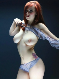 Busty Redhead Babe Elizabeth Presents Incredible Sexy Body