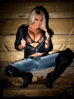 Big Titted Blonde Pornstar Dannii Harwood Denim , Leather and Latex
