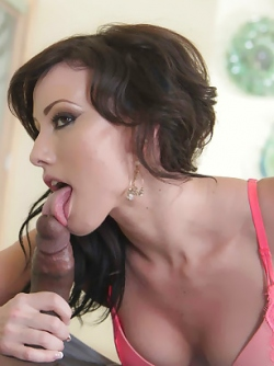 Luscious Brunette Beauty Jennifer White is Sucking a Black Cock