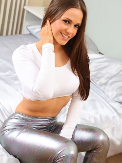 Fucking Hot Busty Girl Emma K Teasing us in her Silver Leggings