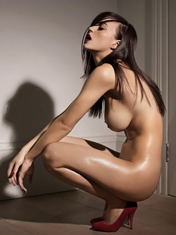 Alluring Girl Rosie Jones in Black Pantyhose Perfect Shiny Body