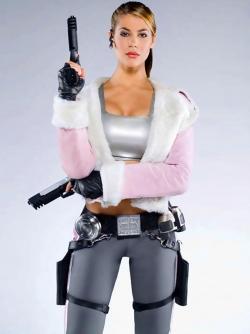 Wonderful Busty Model Karima Adebibe Armed with Some Guns