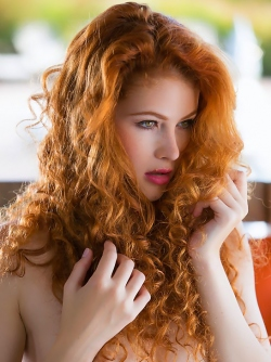 Fucking Hot curly redhead Heidi Romanova Stripping on the Terrace