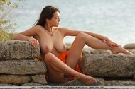 Busty Brunette Sofi Outdoor Posing - pics 07