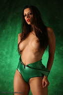 Skin tight and Shiny Green latex - pics 02