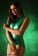 Skin tight and Shiny Green latex - pics 03