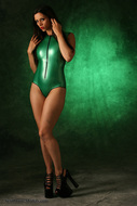 Skin tight and Shiny Green latex - pics 13