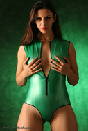 Skin tight and Shiny Green latex - pics 15
