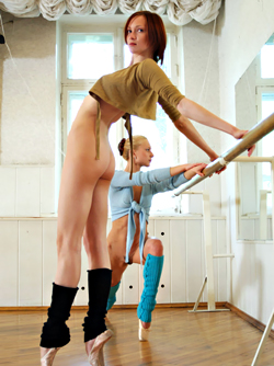 Nataly and Olya - Tall and Sexy Ballerinas - Nude Ballet by the Mirror