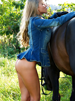 Blonde Dream Girl with her Pony