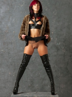 Damn Hot Milf in Long Leather Boots , Fur and Tiny Slutty Skirt