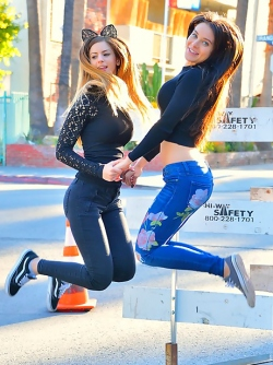 Incredibly Hot Girlfriends - Lana and Stella Skinny Jeans Formation