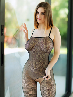 Big Boobed Natural Bombshell Stella Cox in Mini Jeans and Fishnet