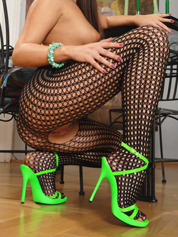 Fishnet Body And Neon Green Heels