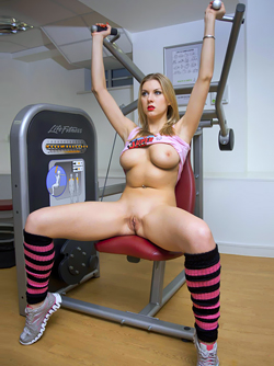 Awesome Busty Milf Sabina Belle - Naked Exercise in the Gym