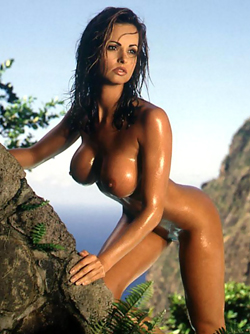Busty and Oiled Bombshell Karen McDougal Free Playboy Pictures