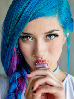 Blue Haired Suicidegirl Fay Likes Ice Cream, Naked Teen Pictures