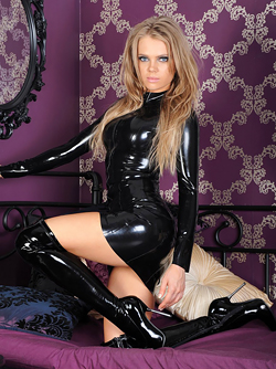 Sexy Model in Shiny Black Latex