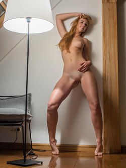 Natural Redhead Woman Irini Presents her Beautiful Real Tits