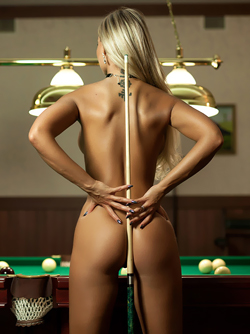 Big Boobed Blonde Maria Playing with Balls in the Billiard Room