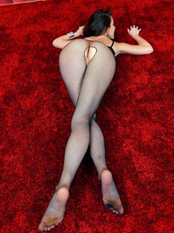 Gorgeous Skinny Model Lorena Wears Sexy Black Fishnet Stockings