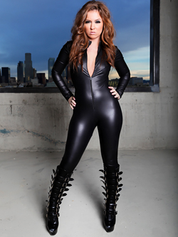 Maddy O'Reilly is Posing in her Tight Black Catsuit and Fetish Boots