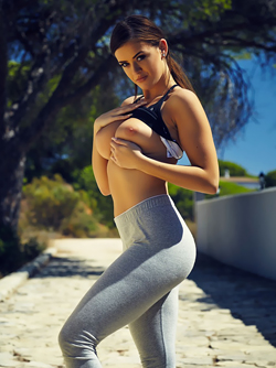 British Model Brook Wright - Exercise in Skin Tight Yoga Pants