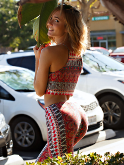 Californian Cutie Dallas Mills in yoga outfit with Fun Patterns