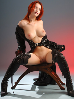 Sensual Redhead Ulya in Black Latex Long Coat and Sexy Knee Boots