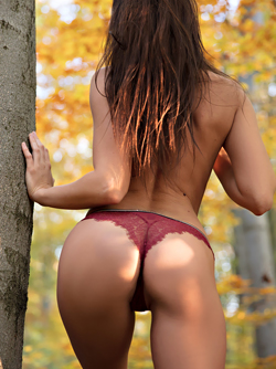 Hot Brunette Takes off her Thong - Sabrisse in Falling Leaves