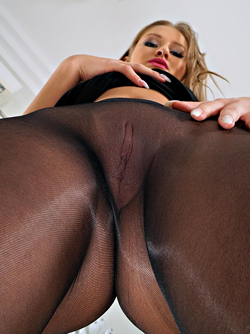 Gorgeous Blonde Pornstar Tiffany Tatum in Black Nylon Pantyhose