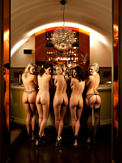 German Playboy Bunnies having fun in the Bar - Champagne Party