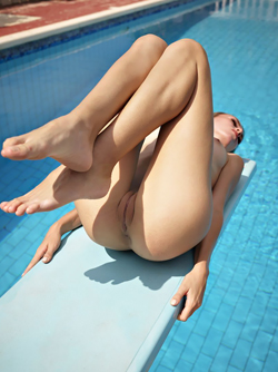 Skinny Babe Nude on a Diving Board - Alice in Naturist Vacation