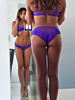 Damn Hot Milf Christiana Posing in Purple Underwear and Heels