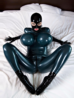 Waking up After a Night in Latex Catsuit , Hood , Gloves and Socks