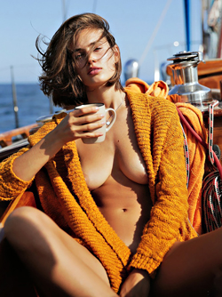 Danish Swimwear Model Johanne Viborg Landbo Naked on a Yacht