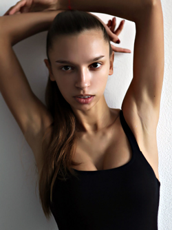 Slim Model in Black Dress Elin Presents her Amazing Round Breasts