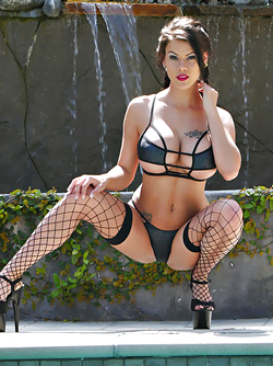 Legendary Pornstar Peta Jensen in Black Fishnets and High Heels