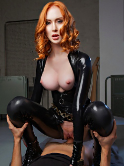 Beautiful Redhead Lenina Crowne in Black Widow a Hardcore Parody