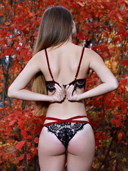 Autumn Inspirations - Sweet Young Girl in Black Lace Lingerie