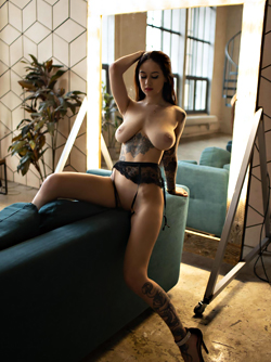 Busty LessyQ in Sexy lingerie that Perfectly Shows off her Tattoos