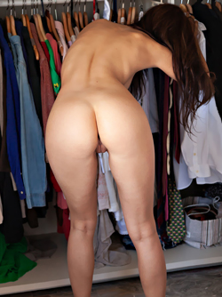 Lauren Crist in Pink Tie - Hot Brunette Gets Nude by her Wardrobe