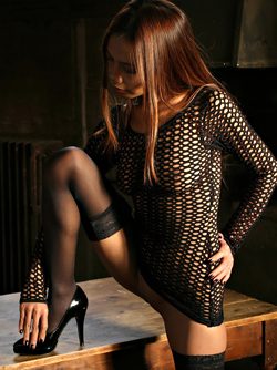 Gorgeous Asian Model Kirey in Sexy Black Mesh and High Heels