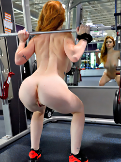 Hot Redhead Nala at a Popular Gym, doing Arm and Back Workouts