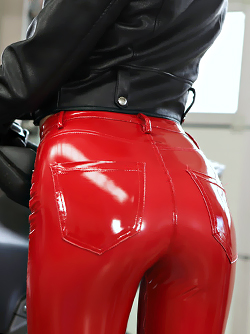 Ride me Right - Small Tits Kate Rich in her Shiny Red Latex Pants