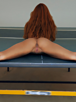 Redhead Latina Agatha Vega Spreads her Legs on a Ping Pong Table
