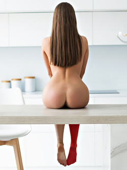 Tattooed Brunette MaryQ Presents her Sexy Ass in Red Stockings